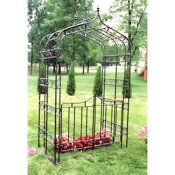 Metal arbor with gate and gothic styling
