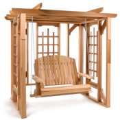 Wood arbor with swing