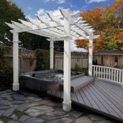 Vinyl pergola which is perfect for your hot tub or spa