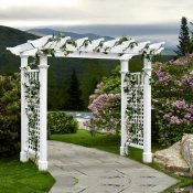 This grande arbor provides a wide entrance for large paths or walkways