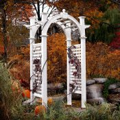 Vinyl arbor adds a dramatic affect in this fall garden