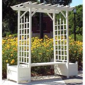 Arbor with large planters and bench