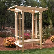 traditional wood arbor with bench