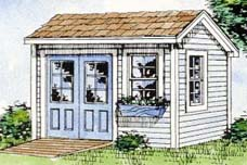 This quaint looking storage shed looks great and is very funtional, it even includes a flower box.